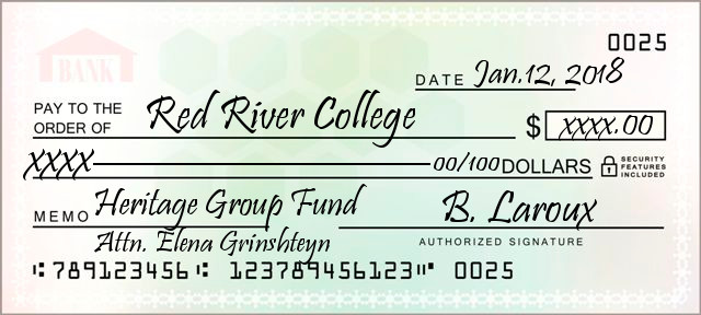 Scanned cheque to the RRC Heritage Group Fund.