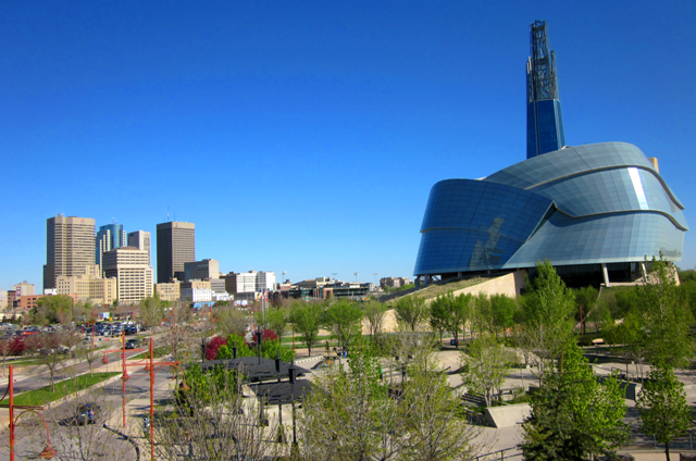 May 21 photo of glorious morning at the Canadian Museum for Human Rights