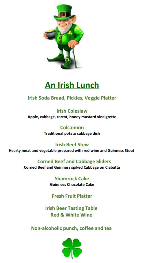HG Irish Lunch menu