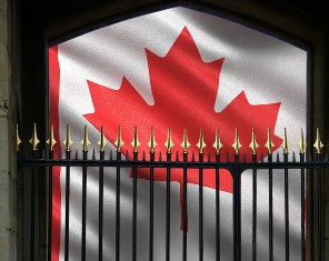 Image of a gated Canadian flag