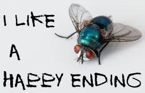 "Photo of a fly with text, ""I like a happy ending"""