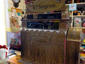 Photo of Tergesen's cash register and store