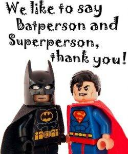 Photo of Batperson and Superperson