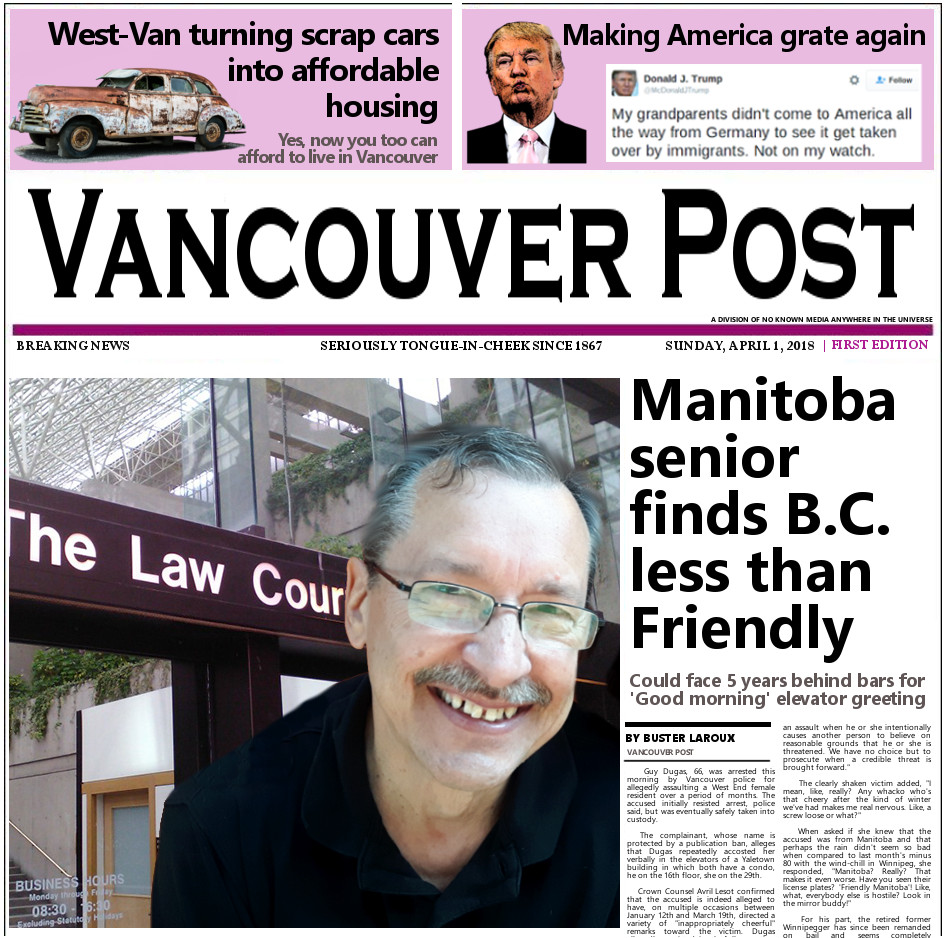 April Fool's photo of Vancouver Post front page