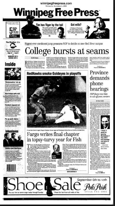 Photo of Winnipeg Free Press front page from 2000